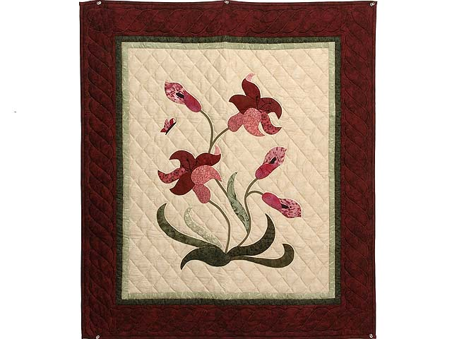 Burgundy Rose and Green Lily of the Valley Wall Hanging Photo 1