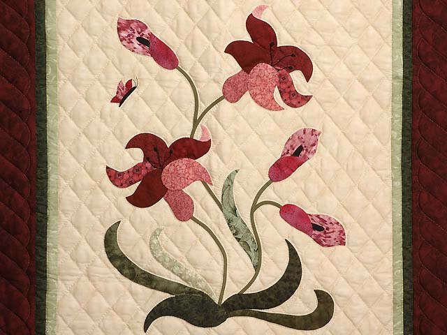 Burgundy Rose and Green Lily of the Valley Wall Hanging Photo 2