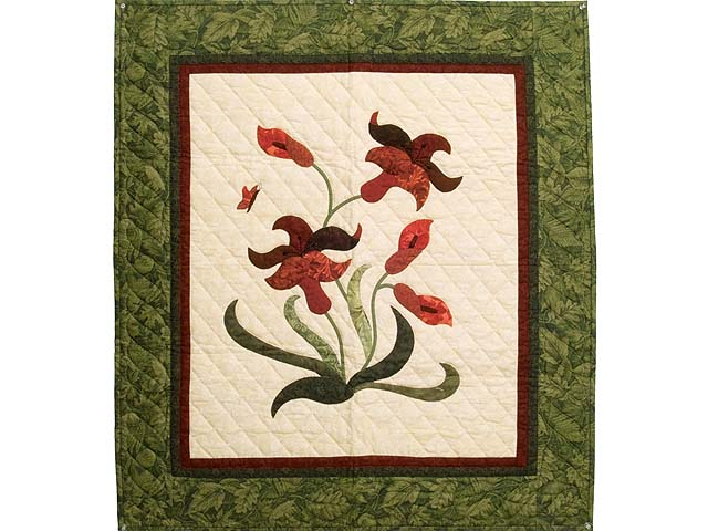 Green Burgundy and Coral Lily of the Valley Wall Hanging Photo 1