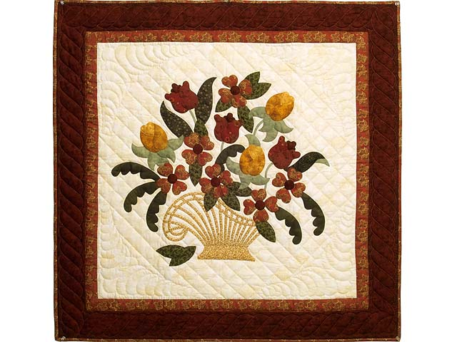 Burgundy Green and Gold  Victorian Basket Wall Hanging Photo 1