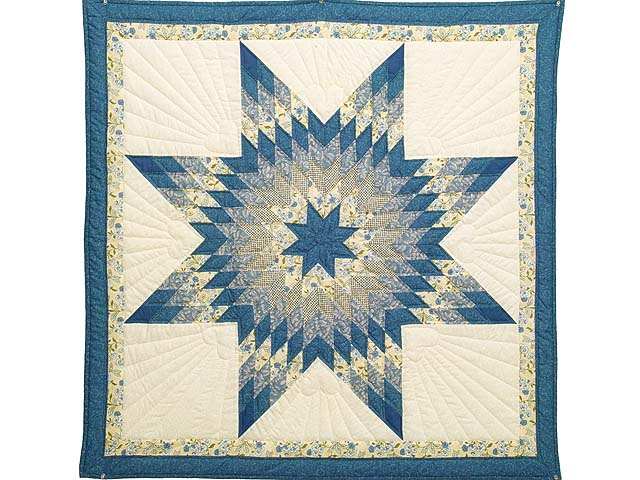 Blue Yellow and Cream Lone Star Wall Hanging Photo 1