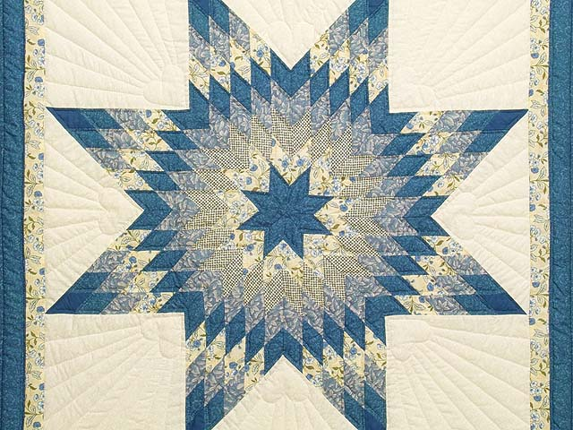 Blue Yellow and Cream Lone Star Wall Hanging Photo 2