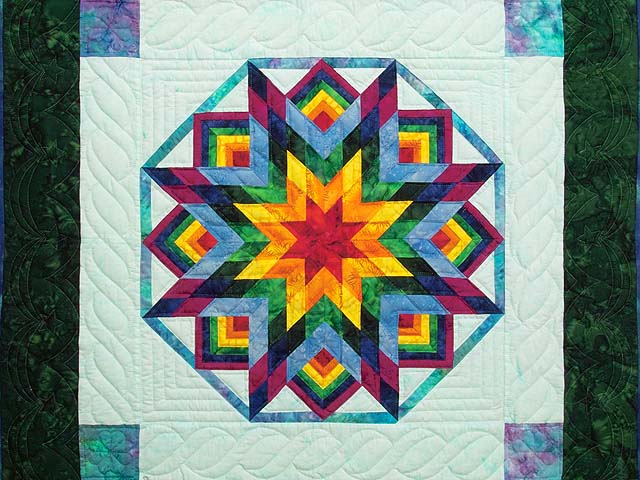 Dark Green Sky Blue and Multi Batik Star Burst Wall Hanging Photo 2