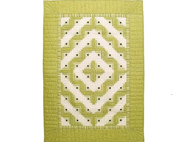 Pistachio Green and Cream Log Cabin Crib Quilt Photo 1