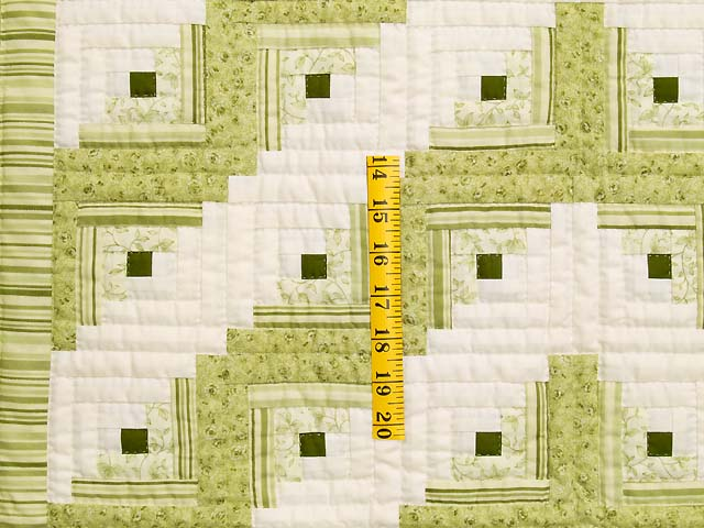 Pistachio Green and Cream Log Cabin Crib Quilt Photo 3