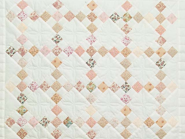 Pink and Cream Nine Patch Crib Quilt Photo 2