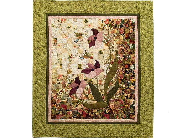 Green and Burgundy Morning Splendor Wall Hanging Photo 1