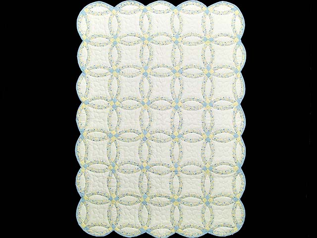 Pastel Blue and Yellow Double Wedding Ring Quilt Photo 1