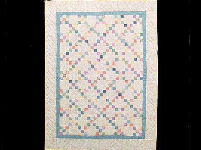 Blue and Multicolor Nine Patch Crib Quilt Photo 1