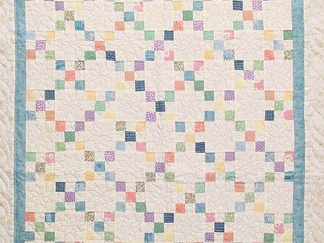 Blue and Multicolor Nine Patch Crib Quilt Photo 2
