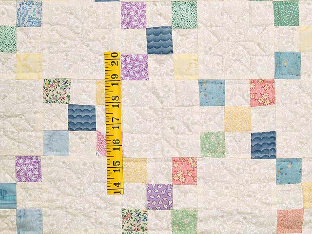 Blue and Multicolor Nine Patch Crib Quilt Photo 3
