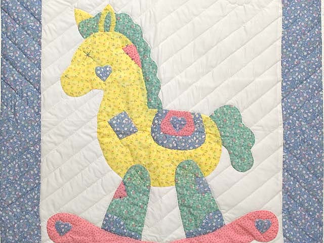 Pastel Blue and Pink Rocking Horse Crib Quilt Photo 2