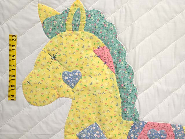 Pastel Blue and Pink Rocking Horse Crib Quilt Photo 3