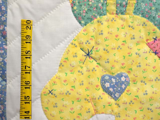 Pastel Blue and Pink Rocking Horse Crib Quilt Photo 4