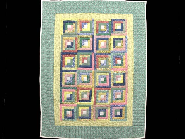 Pastel Green Yellow and Multi Log Cabin Crib Quilt Photo 1
