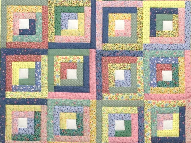 Pastel Green Yellow and Multi Log Cabin Crib Quilt Photo 2