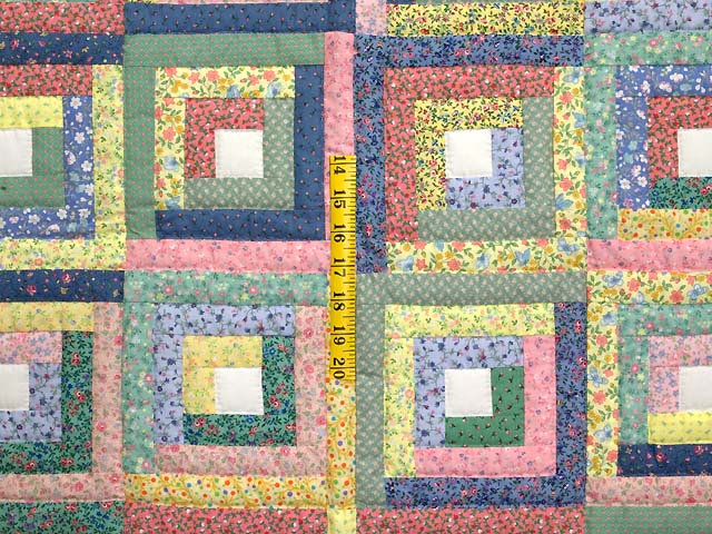 Pastel Green Yellow and Multi Log Cabin Crib Quilt Photo 3