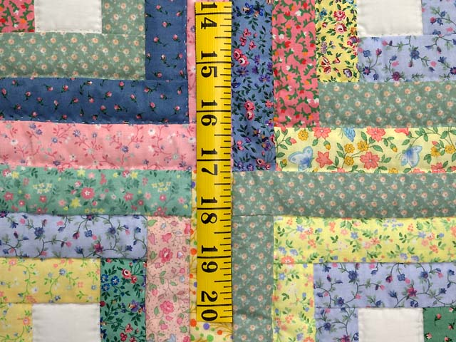 Pastel Green Yellow and Multi Log Cabin Crib Quilt Photo 4