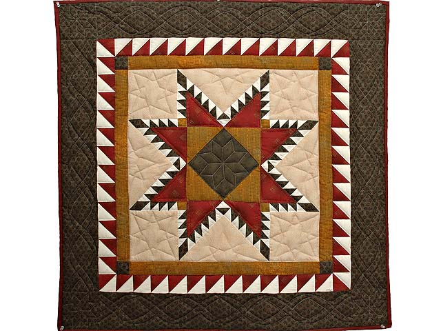 Moss Burgundy and Gold Feathered Star Wall Hanging Photo 1