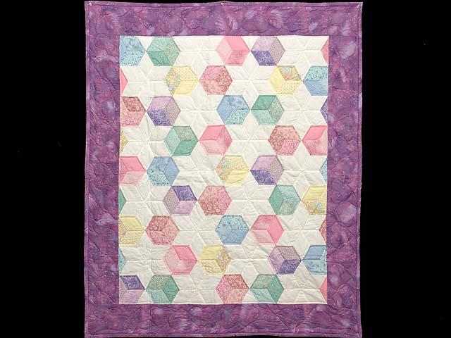 Purple and Pastels Tumbling Blocks Crib Quilt Photo 1