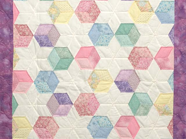 Purple and Pastels Tumbling Blocks Crib Quilt Photo 2