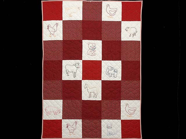 Red and Cream Embroidered Animals Crib Quilt Photo 1