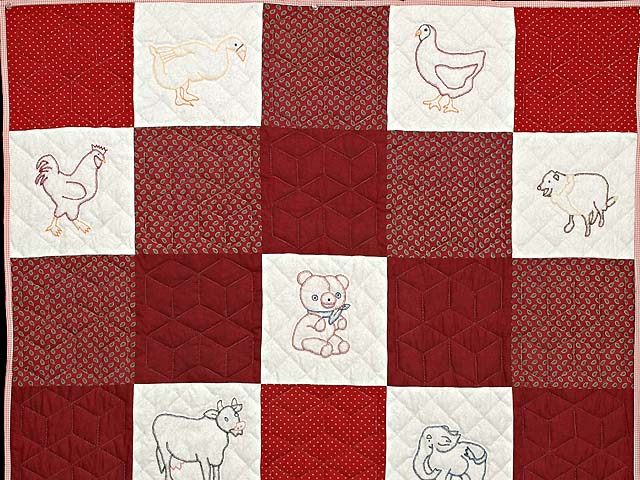 Red and Cream Embroidered Animals Crib Quilt Photo 2