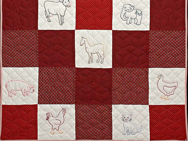 Red and Cream Embroidered Animals Crib Quilt Photo 3