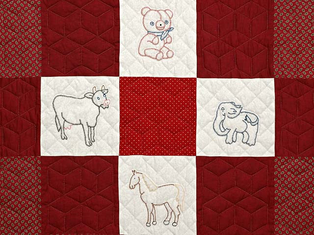 Red and Cream Embroidered Animals Crib Quilt Photo 4