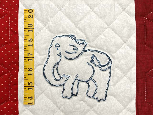 Red and Cream Embroidered Animals Crib Quilt Photo 5