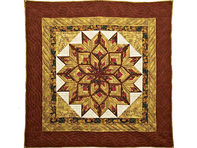 Red and Gold Broken Diamond Star Throw Photo 1