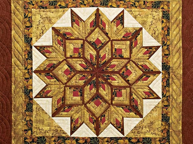 Red and Gold Broken Diamond Star Throw Photo 2