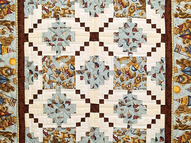 Teddy Bear Log Cabin Crib Quilt Photo 2