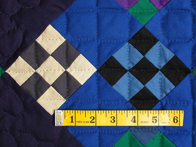 Amish Navy and Purple Nine Patch Wall Hanging Photo 4