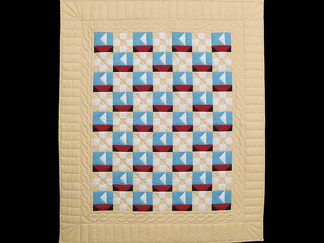 Blue Red and Tan Sailboat Nine Patch Crib Quilt Photo 1