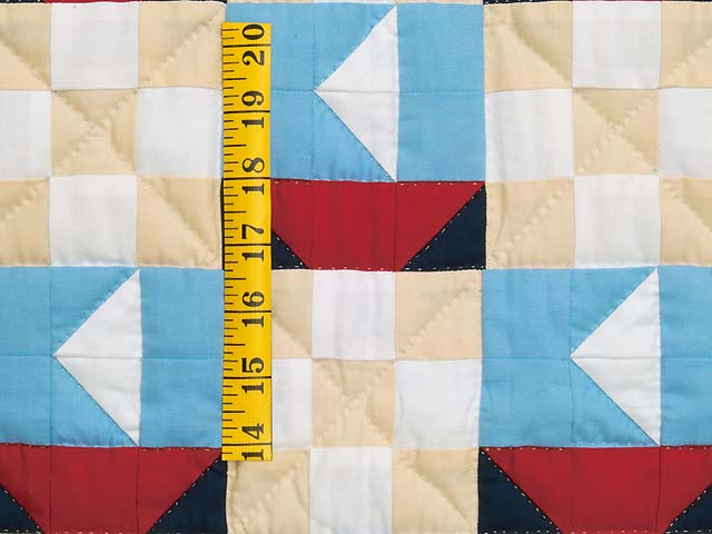 Blue Red and Tan Sailboat Nine Patch Crib Quilt Photo 3