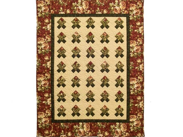 Burgundy and Green Rosebud Nine Patch Crib Quilt Photo 1