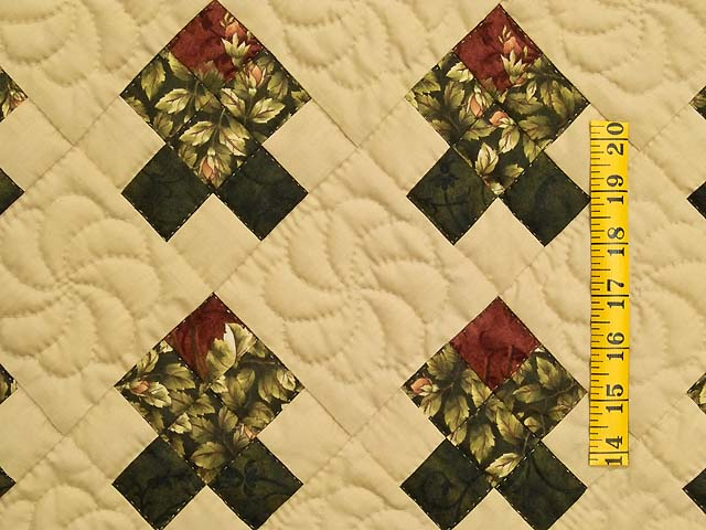 Burgundy and Green Rosebud Nine Patch Crib Quilt Photo 3