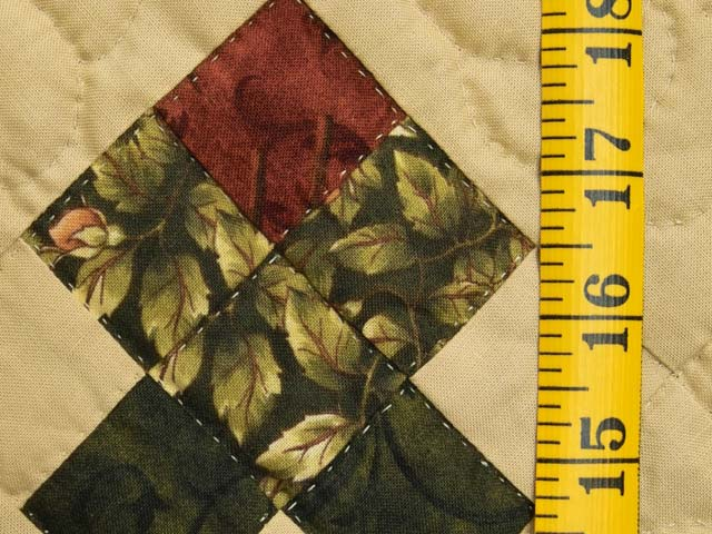 Burgundy and Green Rosebud Nine Patch Crib Quilt Photo 4
