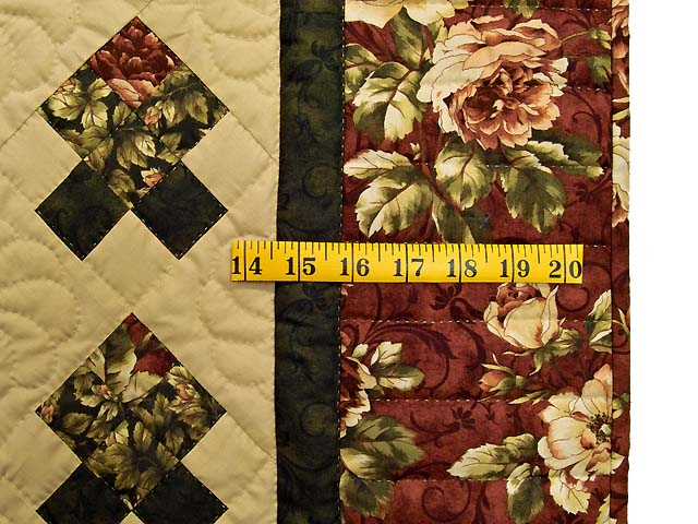 Burgundy and Green Rosebud Nine Patch Crib Quilt Photo 5