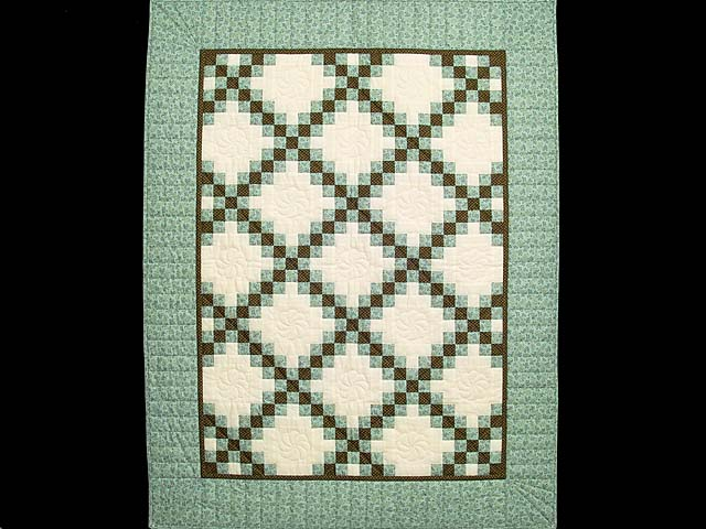 Blue Brown and Cream Irish Chain Crib Quilt Photo 1