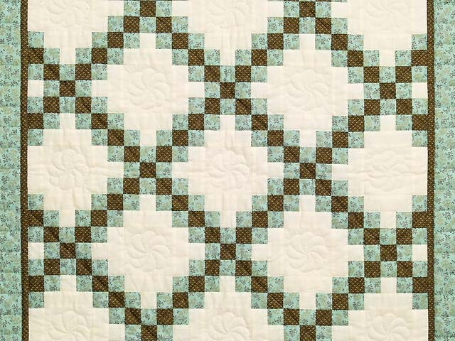 Blue Brown and Cream Irish Chain Crib Quilt Photo 2
