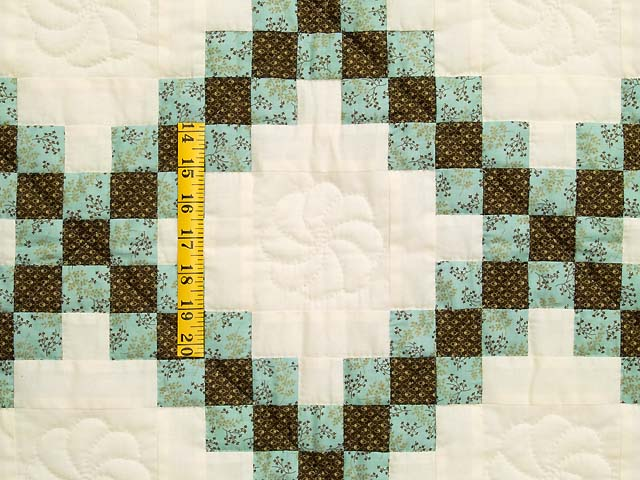 Blue Brown and Cream Irish Chain Crib Quilt Photo 3