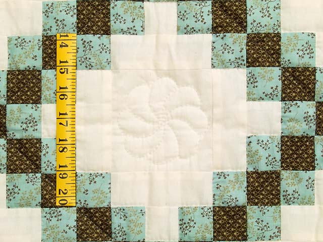 Blue Brown and Cream Irish Chain Crib Quilt Photo 4