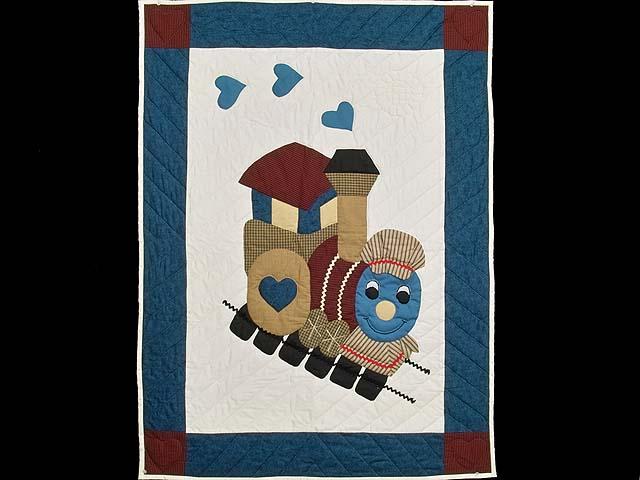 Blue and Burgundy Thomas Train Crib Quilt Photo 1