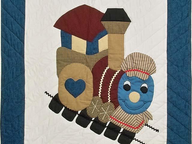Blue and Burgundy Thomas Train Crib Quilt Photo 2