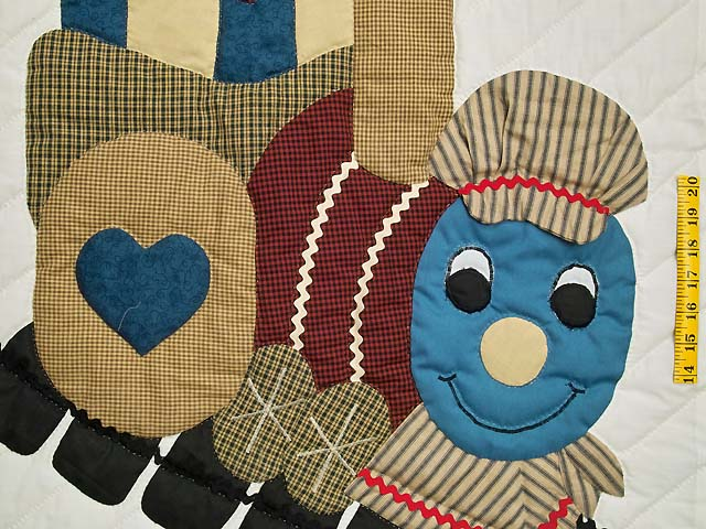 Blue and Burgundy Thomas Train Crib Quilt Photo 3