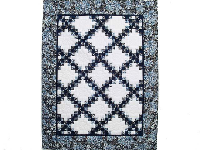 Navy Blue and Cream Irish Chain Crib Quilt Photo 1