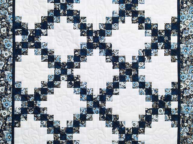 Navy Blue and Cream Irish Chain Crib Quilt Photo 2