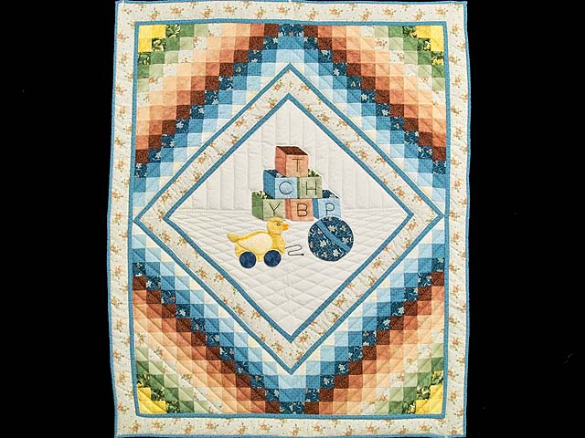 Pastel Blue ABC Crib Quilt Photo 1